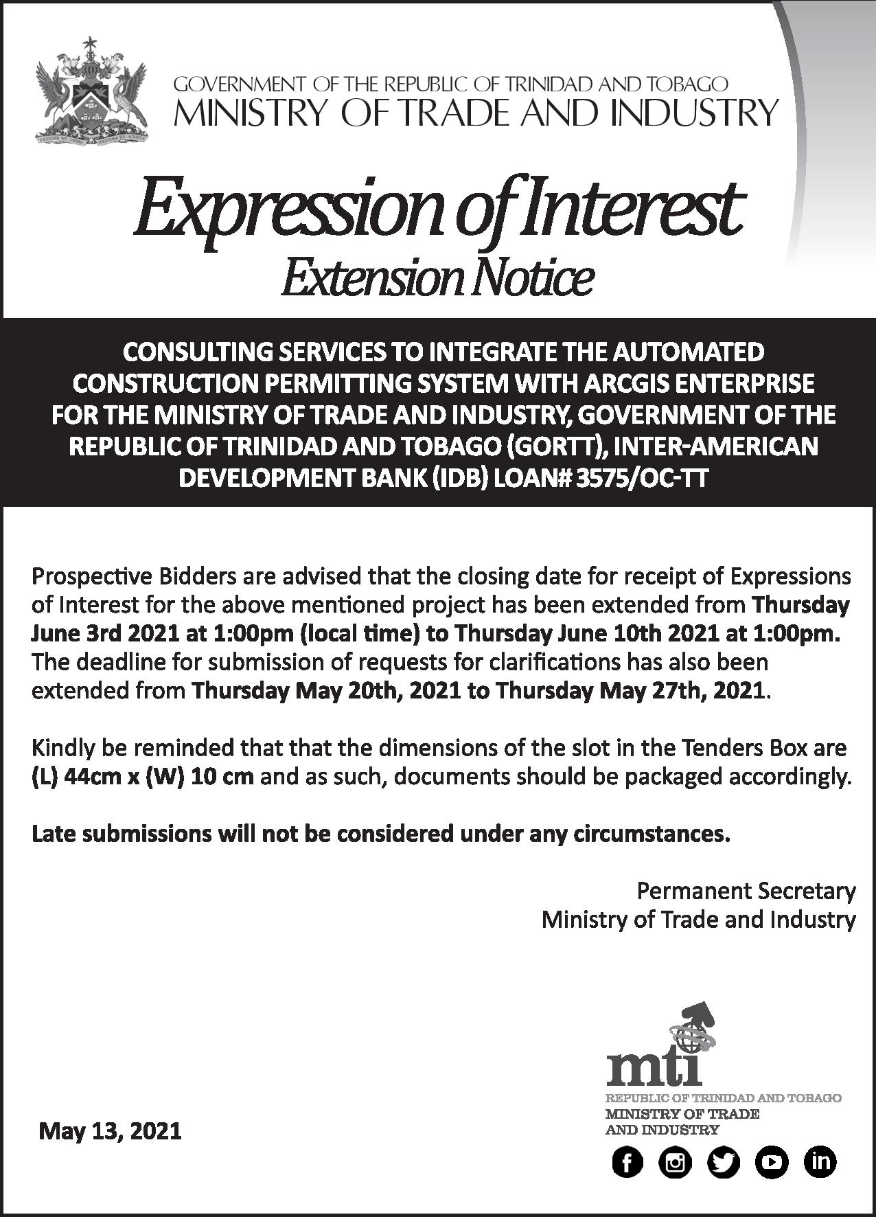 EXPRESSION OF INTEREST: Extension Notice